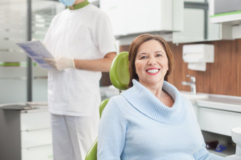 older woman at a dentist's appointment in Richardson